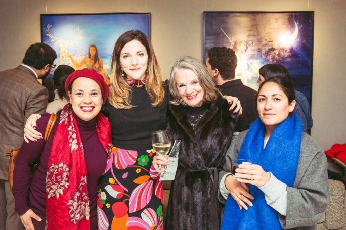 Left: Lily Agius with Aida Daoud (left), Raewyn McGrigor and Dr Joanna Delia (right) at the opening exhibition for SJ Fuerste in 2019
