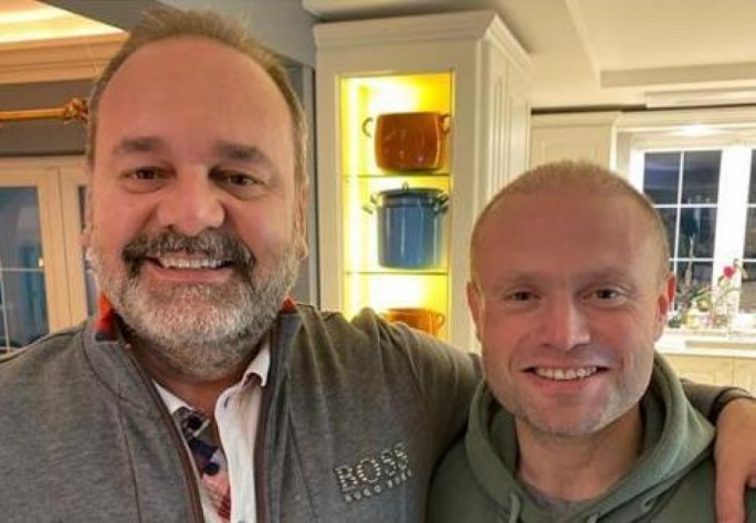 Chris Cardona and Joseph Muscat pictured together in an Instagram post by the former Prime Minister