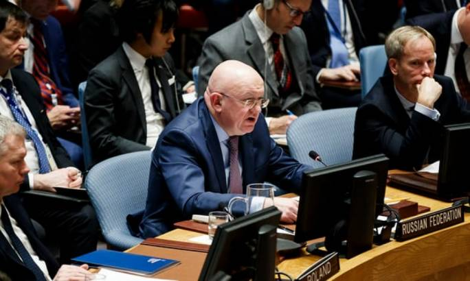 Russia's permanent representative to the United Nations, Vassily Nebenzia, addressed an emergency UN security council meeting in response to a suspected chemical weapons attack in Syria on Monday. (Photo: The Guardian)