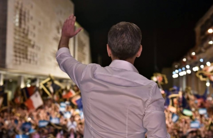 Simon Busuttil addresses a mass meeting in Valletta
