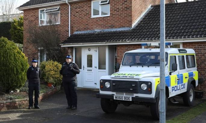 Police outside Sergei Skripal's Salisbury home (Photo: The Guardian)