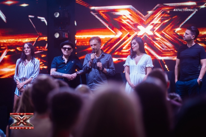 X Factor judges Ira Losco, Ray Mercieca, Howard Debono, Alex Alden and presenter Ben Camille
