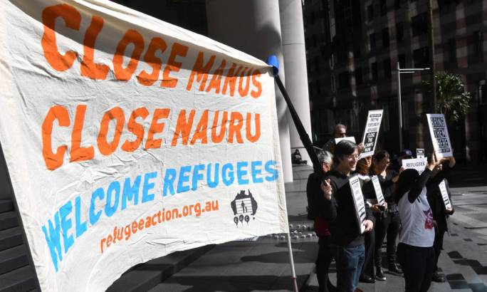 Protestors in Sydney call for an end to offshore detention. The government's report to the UN body says its committed to its human rights obligations (Photo: William West/AFP)