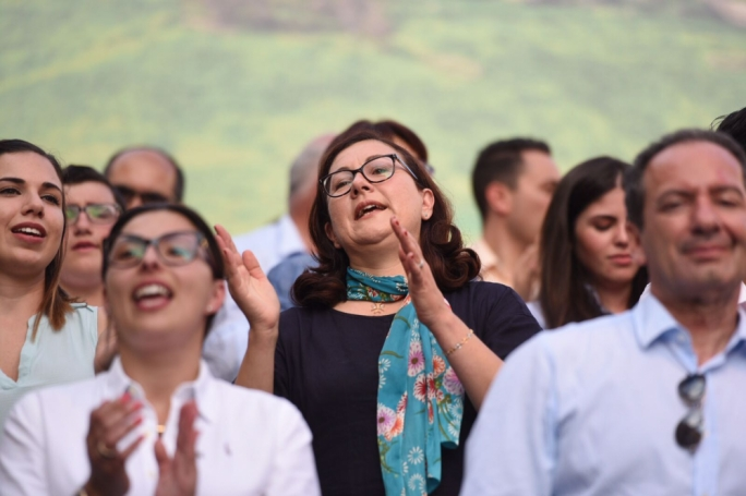 She has made it! Partit Demokratiku leader Marlene Farrugia at a PN mass meeting in Gozo. Photo: James Bianchi