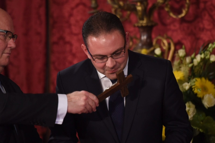 Owen Bonnici being sworn in as minister for justice, culture and local government