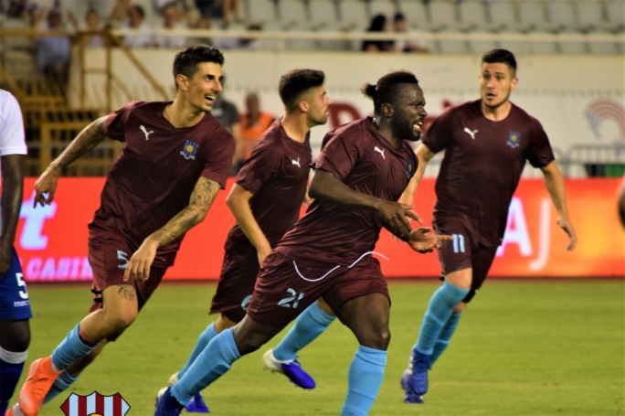 Gzira United's Hamed Kone celebrating his goal