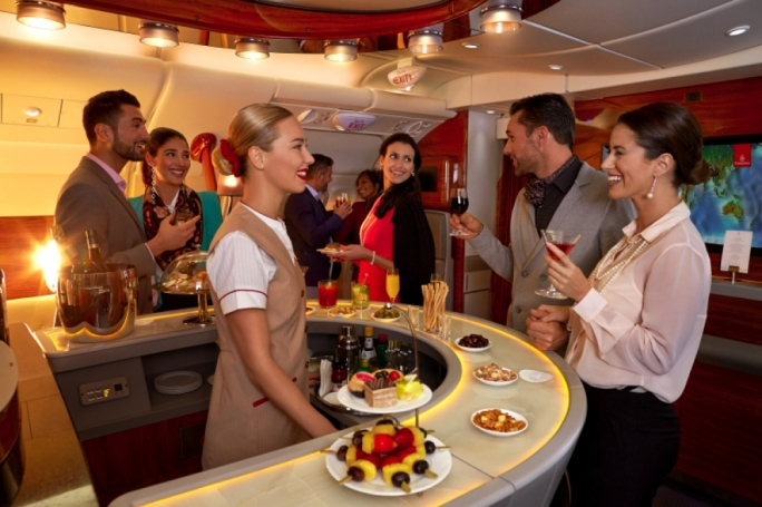 Emirates Onboard Lounge for First and Business Class travellers on A380
