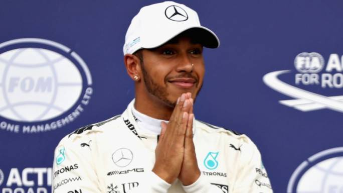 Lewis Hamilton celebrating his success
