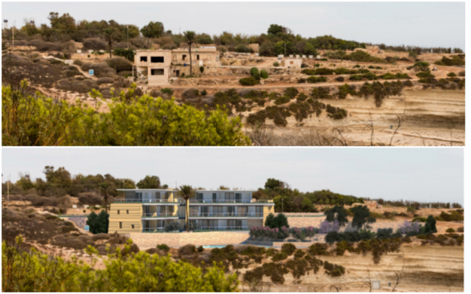 Photomontage of hotel as proposed, compared to present situation