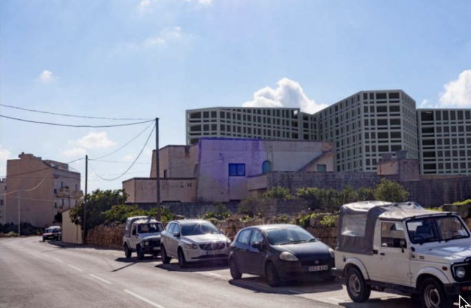 View of the proposed development from the entrance to the Naxxar UCA through St Paul's Street