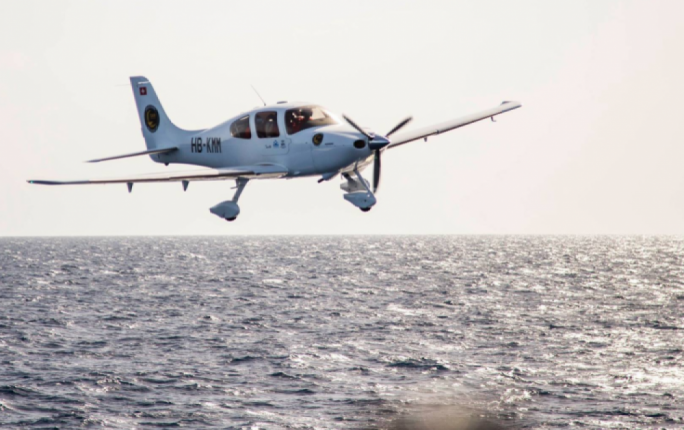 The Cirrus SR22 operated by Seawatch and the Humanitarian Pilots Initiative for SAR missions