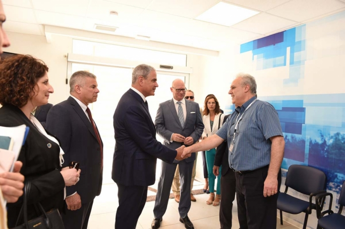 Steward founder and CEO Ralph de la Torre shakes hands with Steward Malta staff during a previous visit in which he held talks with former prime minister Joseph Muscat. Steward Malta CEO Armin Ernst (centre) looks on
