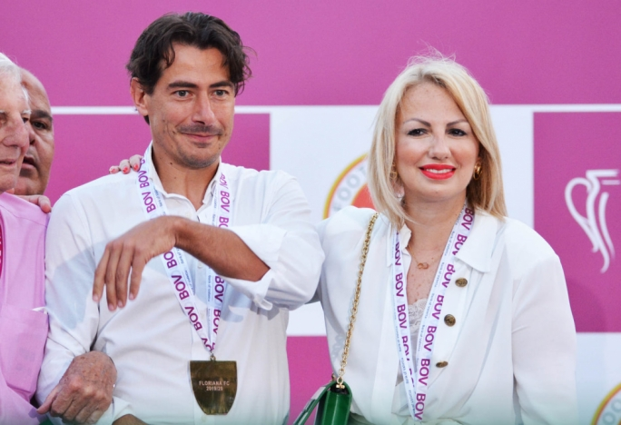 Sponsorship plans: Diane Izzo (right) struck up a partnership with Floriana F.C. through D Arena Mall, a company that bought into an Italian business concern that Floriana F.C. president Riccardo Gaucci (left) first step as part of a sports commercialisation project for the Independence Arena