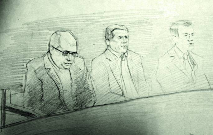 Courtroom sketch of (left to right) Vince Muscat, George Degiorgio and Alfred Degiorgio