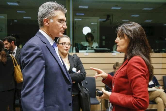 Home Affairs Minister Carmelo Abela and Malta's perm rep to the EU Marlene Bonnici