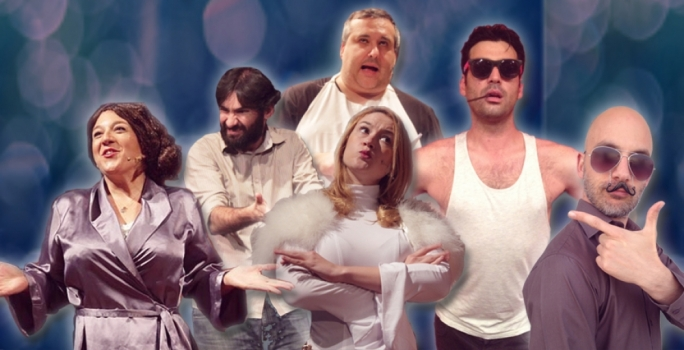 Comedy Knights performers, left to right: Pia Zammit, Malcolm Galea, Jo Caruana, Marc Cabourdin and Chris Dingli. Top: Colin Fitz