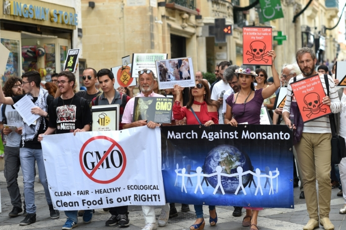 A protest in 2013 against genetically modified seeds and agro-chemicals • Photo: Ray Attard