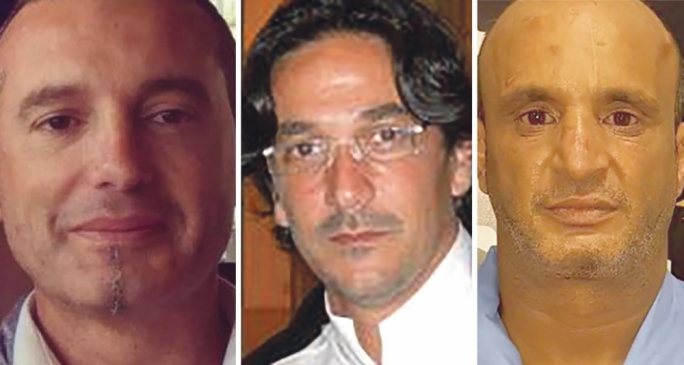 Gordon Debono (centre) with Darren Debono (left) and Fahmi Bin Khalifa, are suspected of masterminding a fuel smuggling ring involving Libya, Malta and Italy