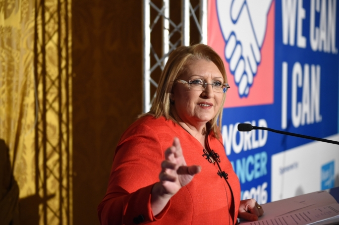 Marie Louise Coleiro Preca addresses the National Cancer Platform. Photo: Ray Attard