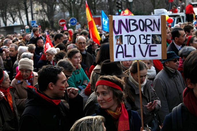 Protestors calling for the removal of abortion laws in Paris, France