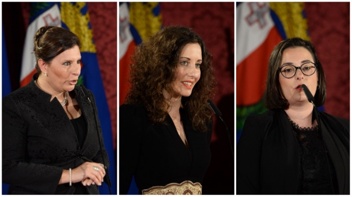 Astrid May Grima (left), Rachel Montebello (centre) and Simone Grech (right)