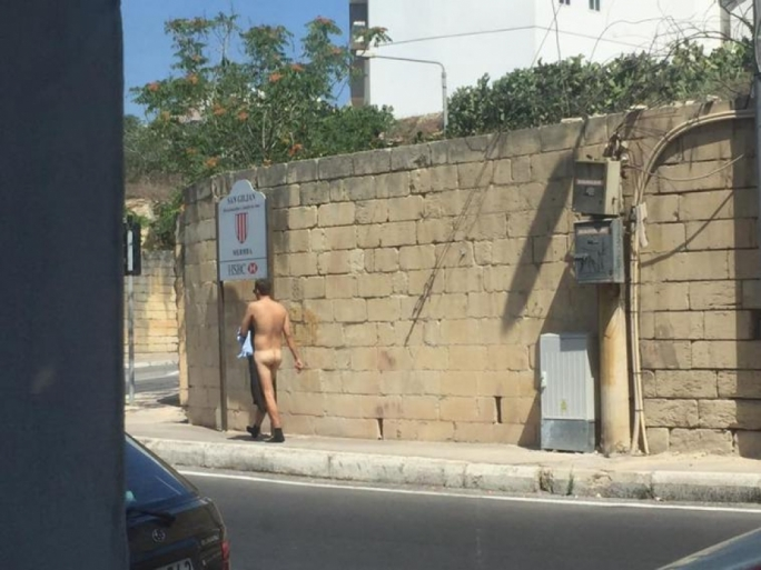 The man was filmed strolling naked in Birkirkara Hill