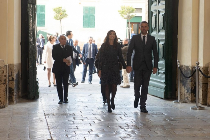 Rosianne Cutajar walking into the Palace in Valletta on Wednesday