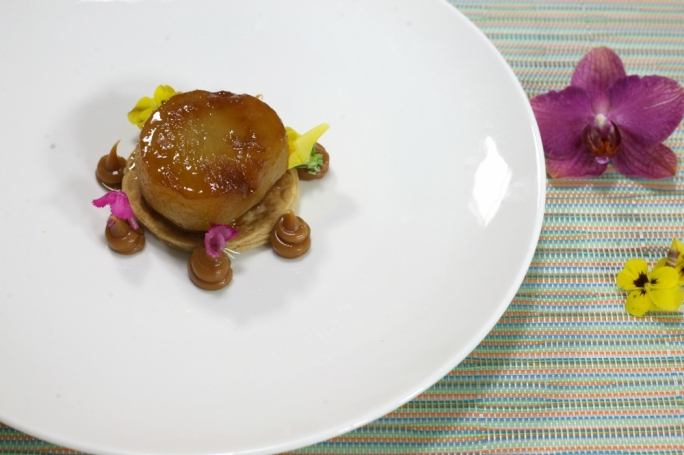 Pear tarte tatin with salted toffee sauce