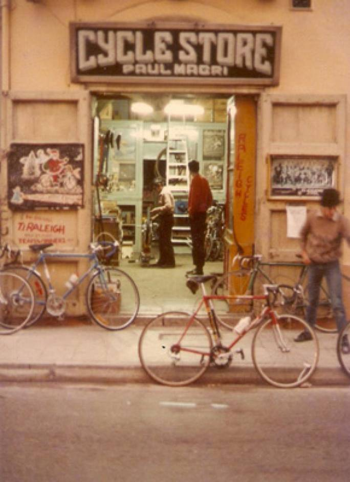 One of the original facades of the Magri bicycle shop in Mosta