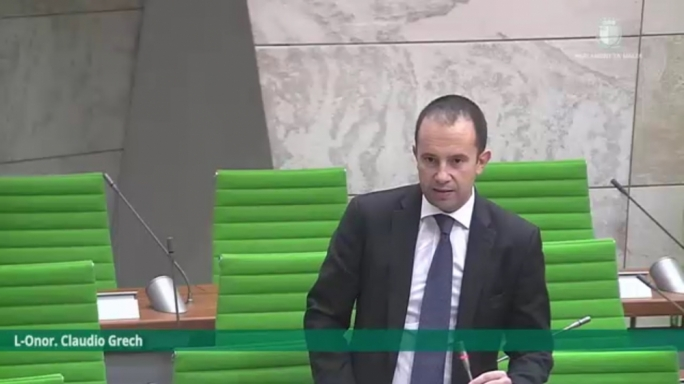 Shadow economy minister Claudio Grech delivers a speech in Parliament