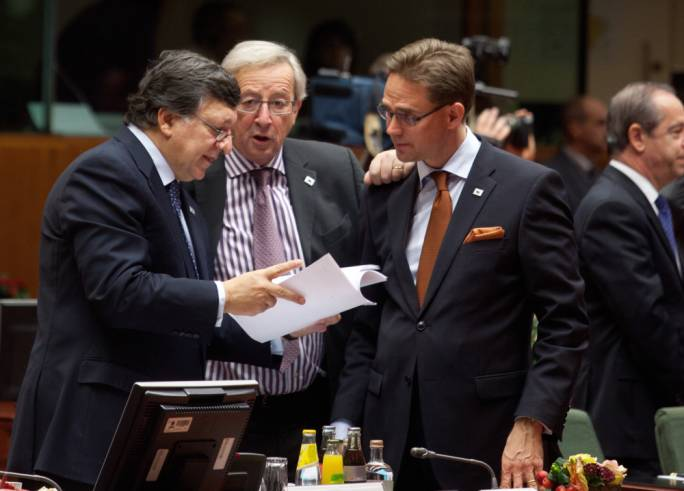 Former EC president José Manuel Barroso (left) with Jean-Claude Juncker and Jyrki Katainen of Finland: Barroso has been accused of lobbying Katainen in Brussels