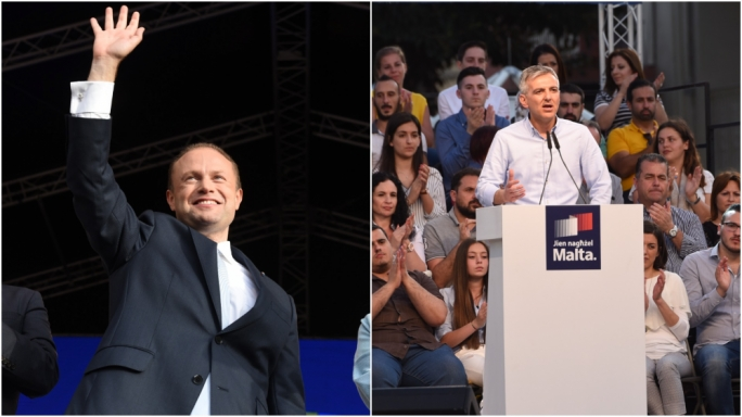 Prime Minister and Labour Party leader Joseph Muscat (L) and Nationalist Party leader Simon Busuttil