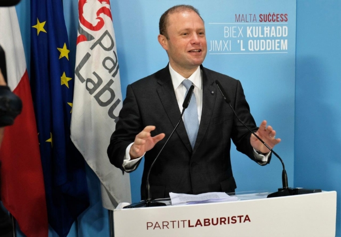 Prime Minister Joseph Muscat addresses the party faithful in Senglea