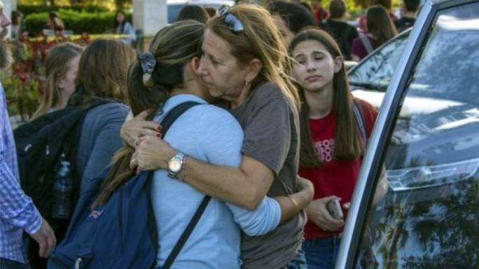 Students were reunited with parents in Coral Springs (photo:BBC)