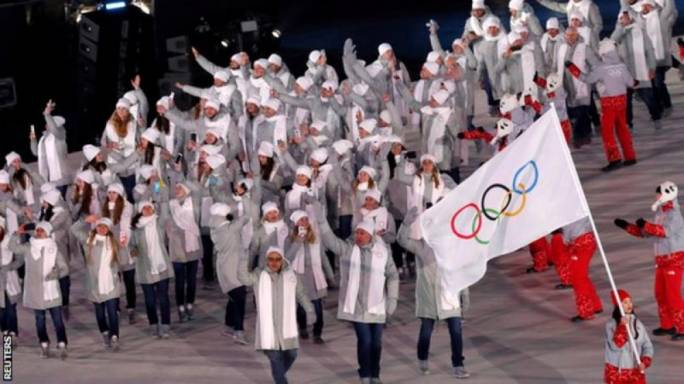 Russian athletes parading under the Olympic flag at this month's Winter Olympics in Pyeongchang, South Korea. They will parade under the same flag at today's closing ceremony.