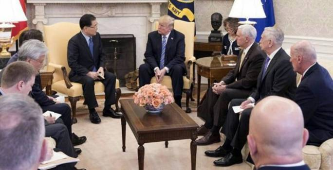 The South Korean delegation briefed Donald Trump after their meeting with Kim Jong-un (Photo: Reuters)