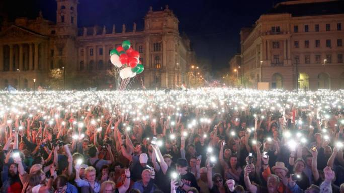 Thousands reportedly attended demonstrations in Budapest against the newly re-elected prime minister Viktor Orban