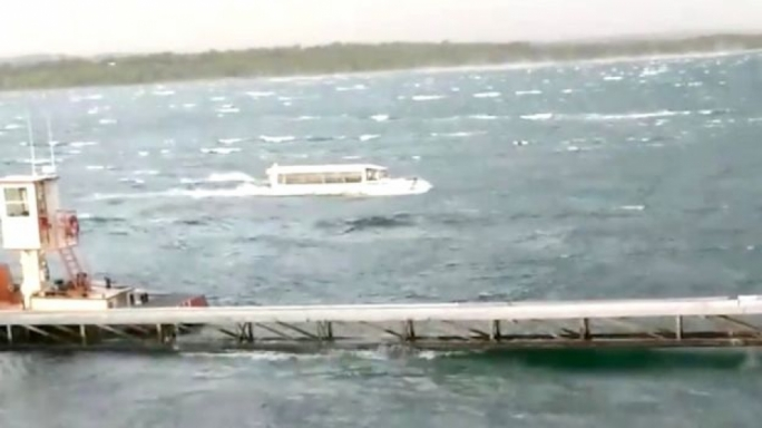 Social media footage of one of the boats sailing through the stormy weather