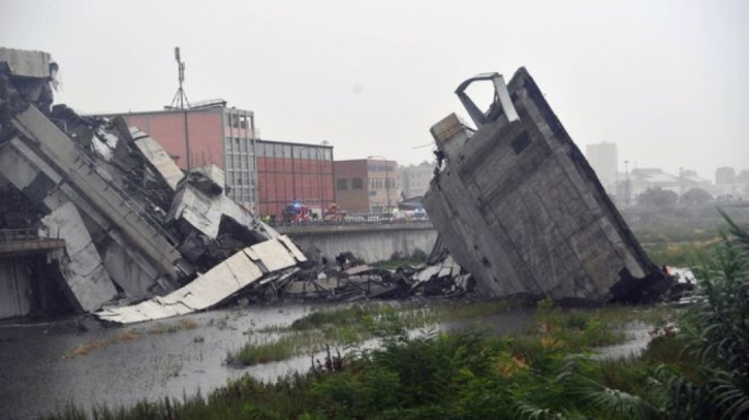 The shattered bridge spanned a stream in which much of the rubble fell  (Photo: BBC)
