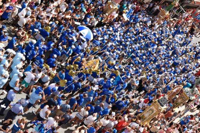 The San Gaetano feast is organised by the locality's two rival band clubs