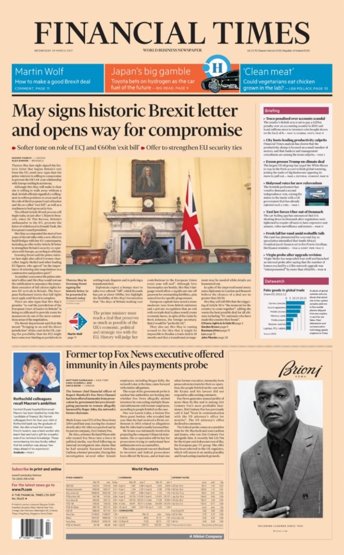 The Financial Times' fron page