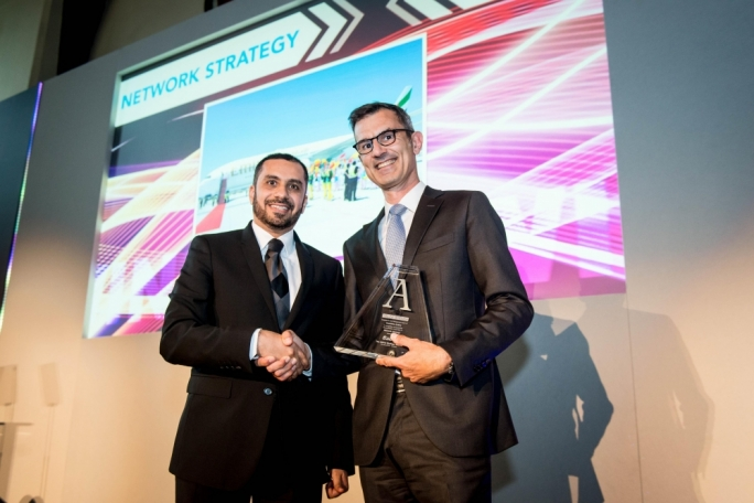 Adnan Kazim, divisional senior vice-president strategic planning, revenue optimisation & aeropolitical affairs, collecting the inaugural Network Strategy award from Alessandro Ciancimino, vice-president consulting, Sabre Airline Solutions at The Airline Strategy Awards