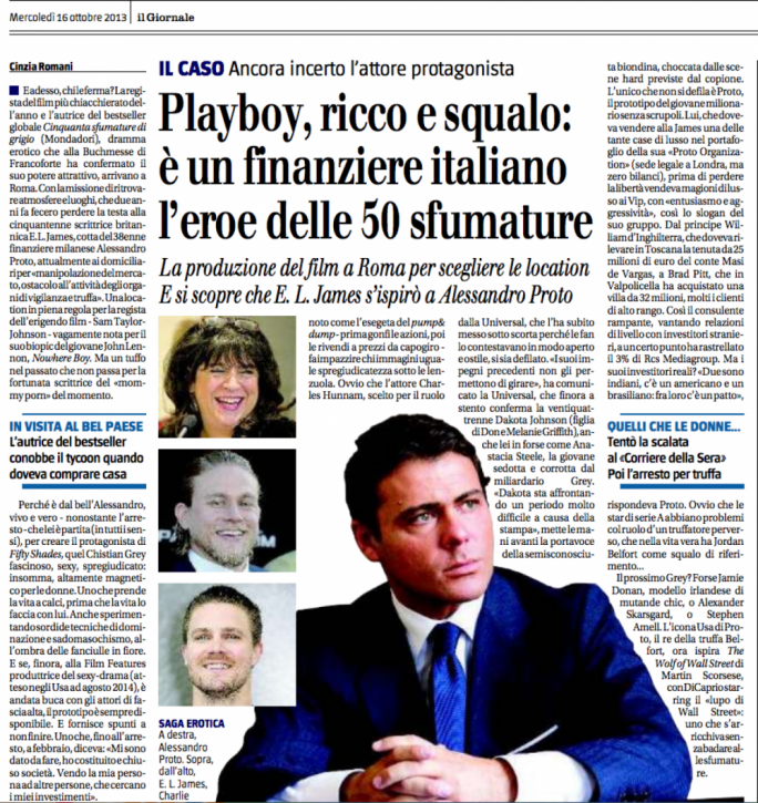 Fake news: Italian newspapers swallowing it hook, line and sinker that Proto inspired the playboy character of 50 Shades, or that he sold Facebook king Mark Zuckerberg a Milan apartment