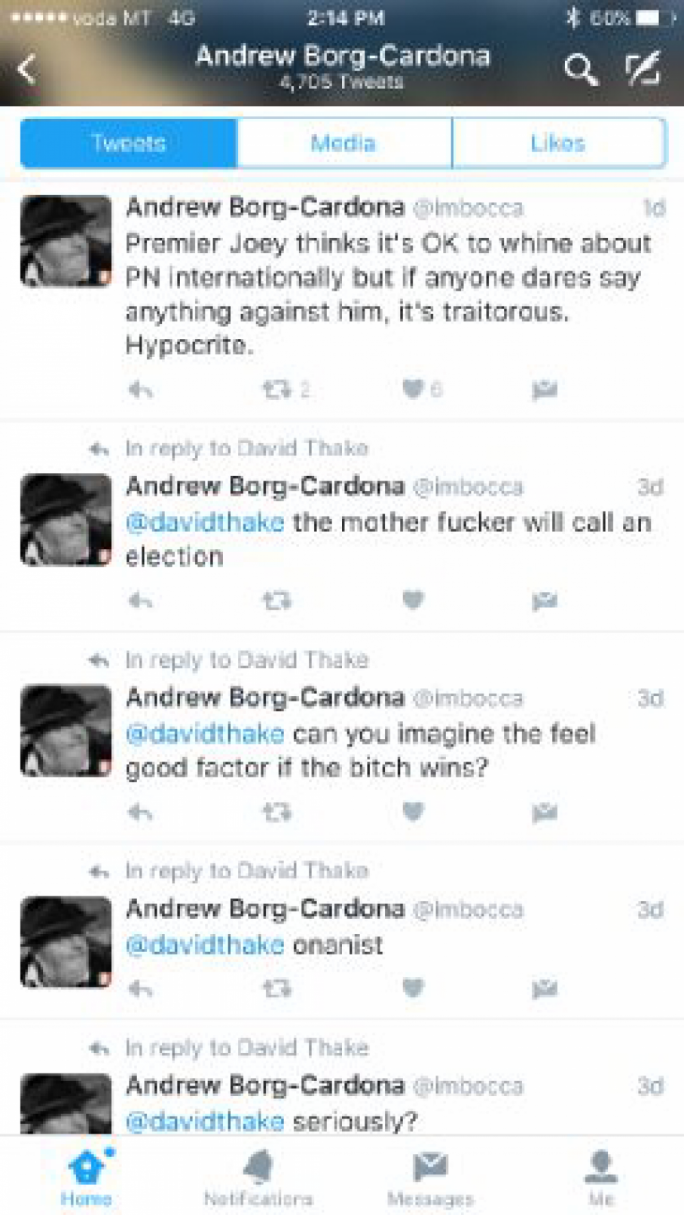 Andrew Borg Cardona's tweets, when he 'thought he was tweeting privately'.