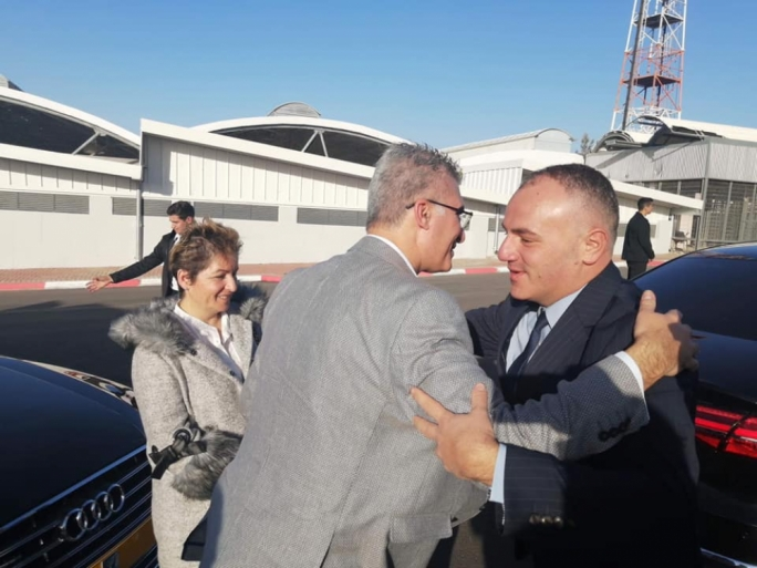 Carmelo Abela is greeted by the Palestinian ambassador