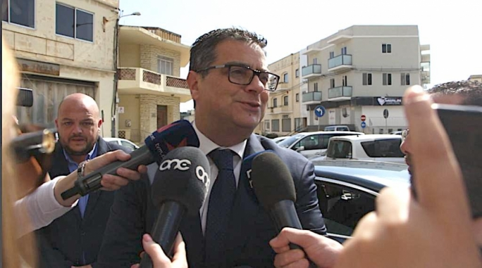 Opposition leader Adrian Delia walking into the PN headquarters