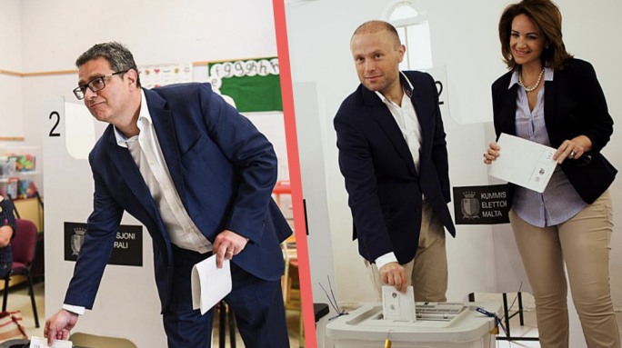 Opposition leader Adrian Delia had an early start, while Joseph Muscat was accompanied to the polling booth by his wife Michelle Muscat.