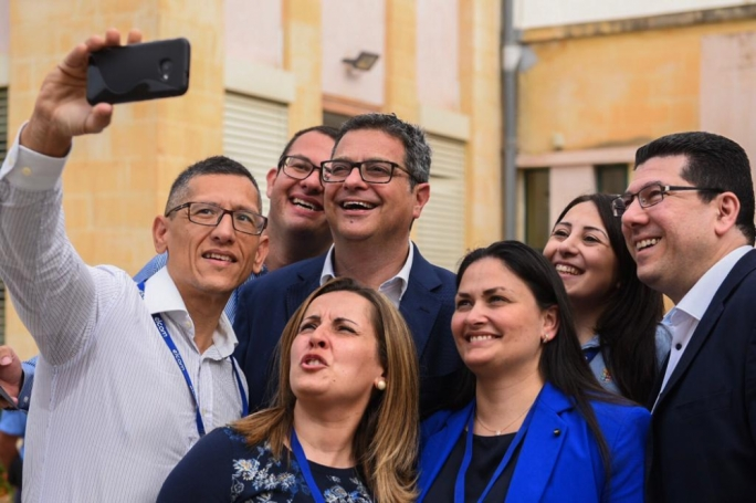 There was some time to pose for a selfie as well. (Photo: James Bianchi/MediaToday)