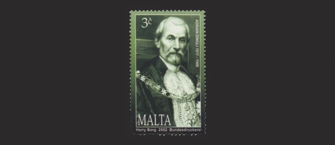 A postage stamp bearing a portrait of Sir Adrian Dingli