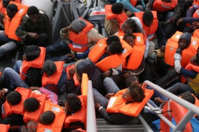 Italian navy rescues migrants in Maltese waters